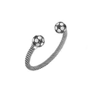 男士银色足球手镯手链8