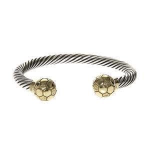 Bracelet homme jonc argent football ballon d'or 10