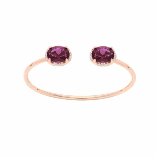 Bracelet jonc argent rose cristal prune 3