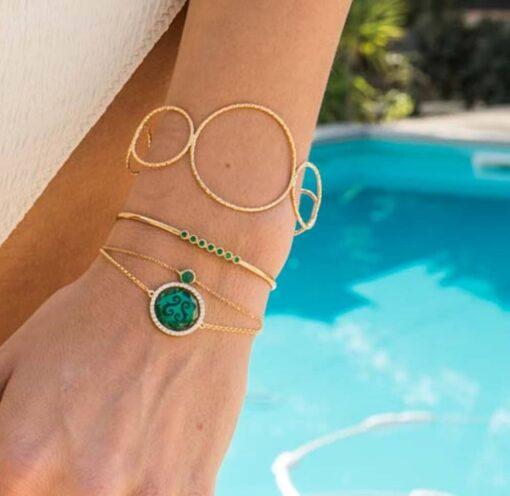 Bracelet jonc argent vertu rose grenat 6
