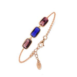 Bracelet rose cristal prune marine 4