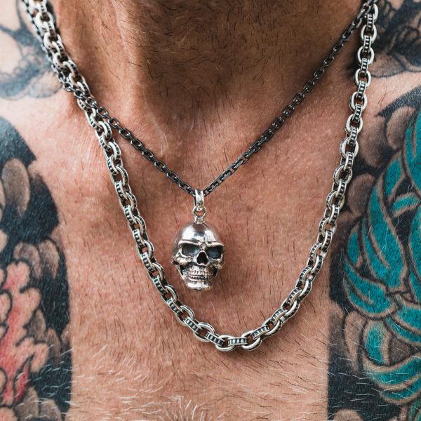 Man chain massive rock big fantasy silver 4