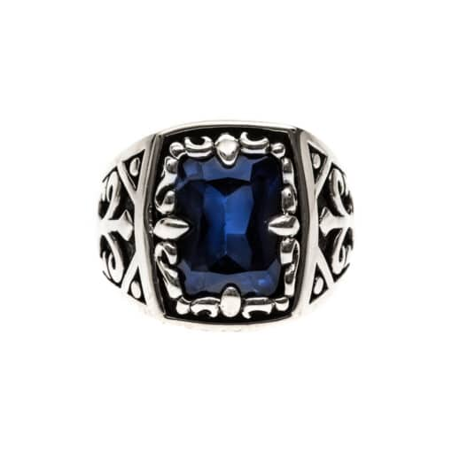 Men's silver sapphire blue signet ring the spirit of the king 3
