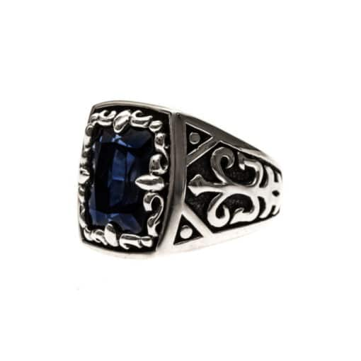 Men's silver sapphire blue signet ring the spirit of the king 4