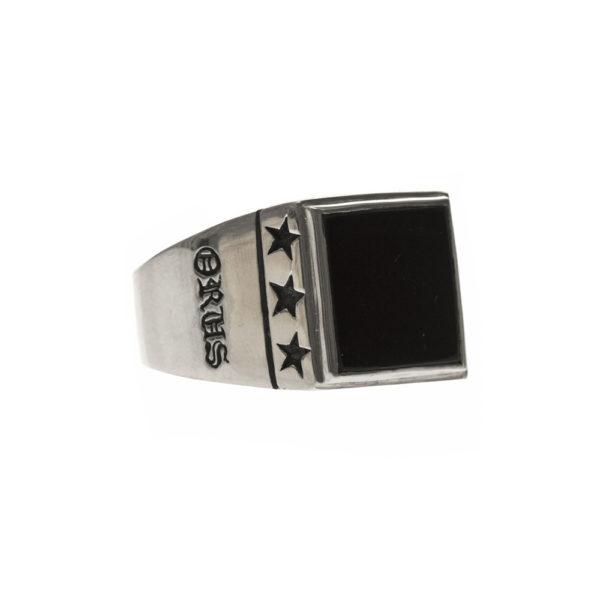 Chevalière étoiles onyx argent 2