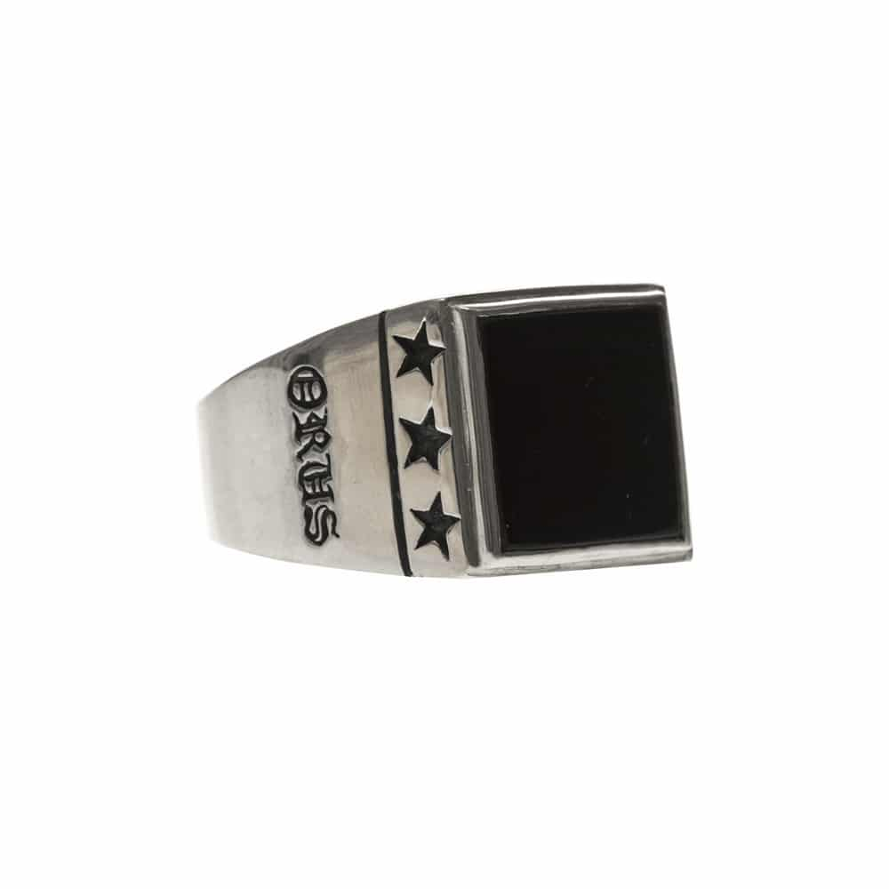 Chevalière étoiles onyx argent 4