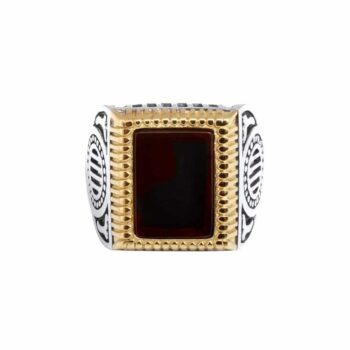 Rock signet ring in silver and gold front view