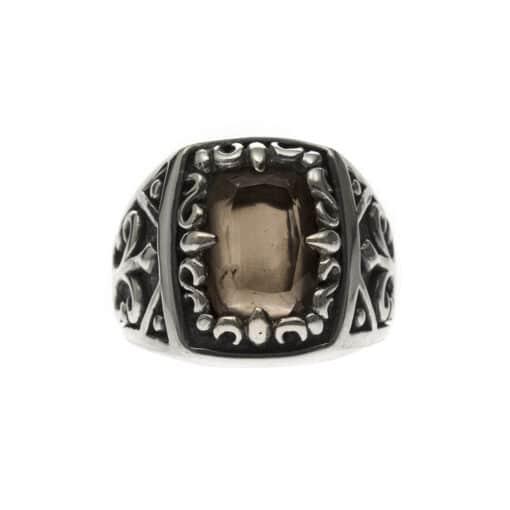 Men's silver smoked quartz signet ring the spirit of the king 3