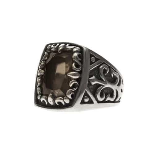Men's silver smoked quartz signet ring the spirit of the king 4