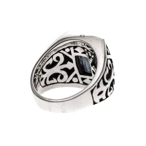Men's silver smoked quartz signet ring the spirit of the king 5