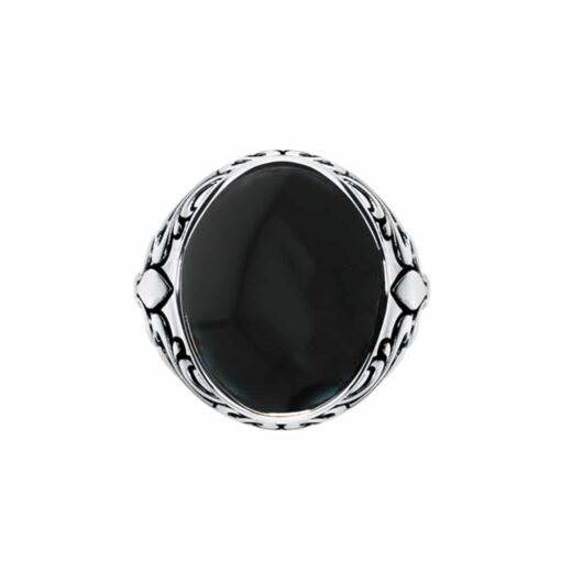 Royal onyx signet ring silver 3