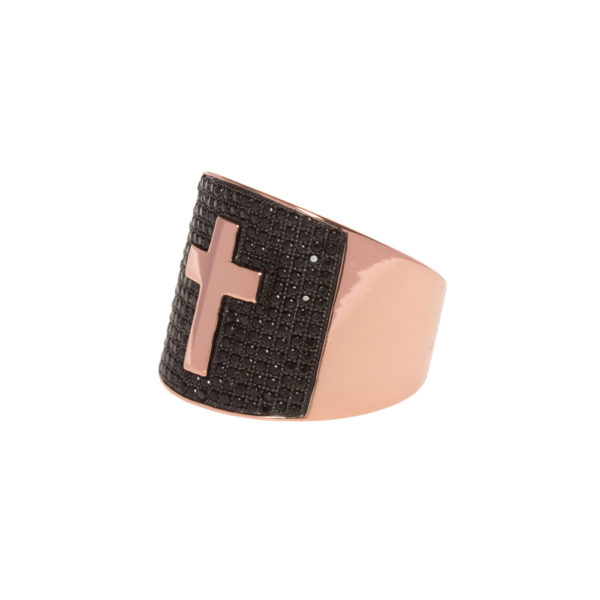 Signet ring set with black and pink cross 4
