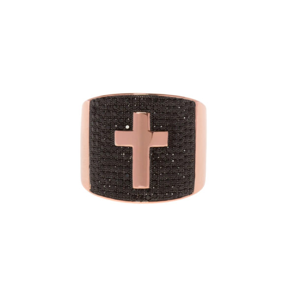 Signet ring set with black and pink cross 3