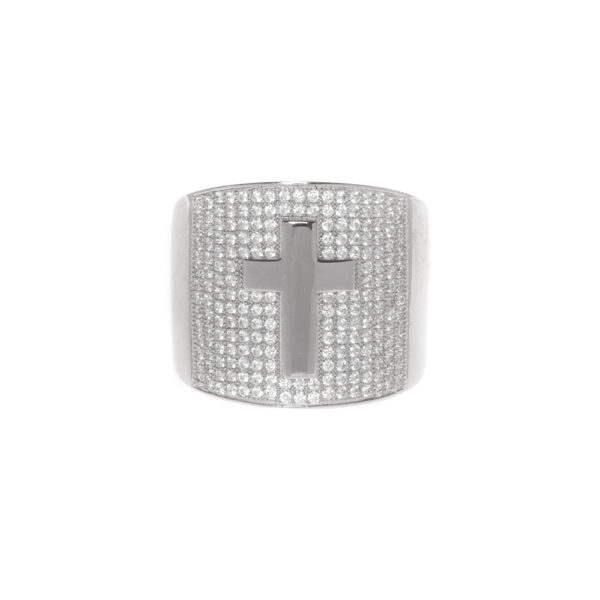 Silver signet ring set with rhodium cross 3