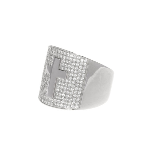 Silver signet ring set with rhodium cross 4