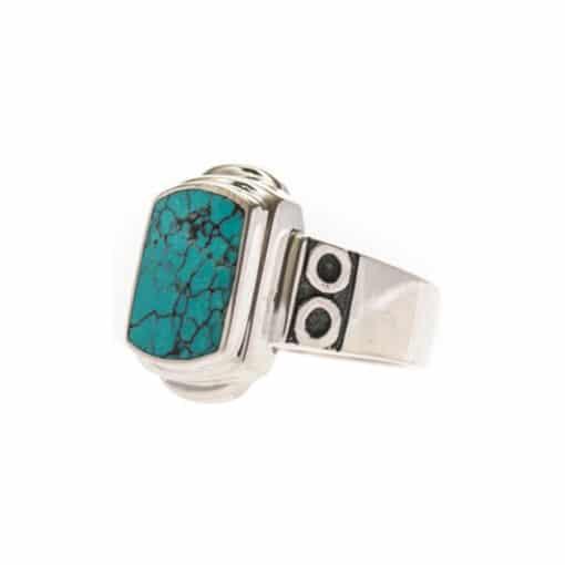 Original turquoise silver signet ring 5
