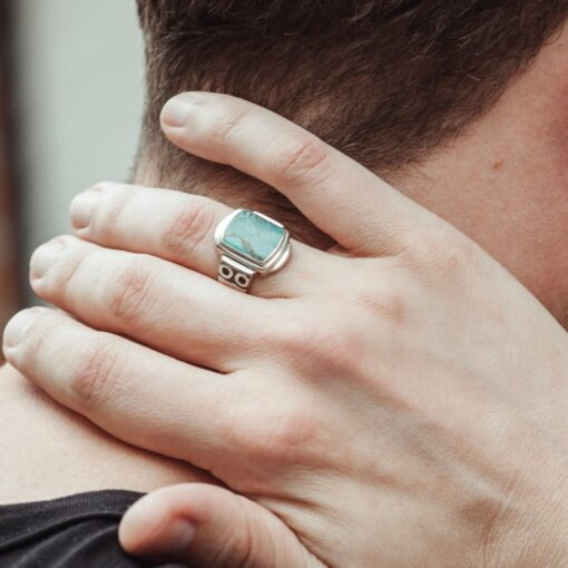 Original turquoise silver signet ring 4