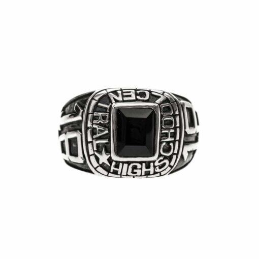 Silver signet ring university man black stone silver 3
