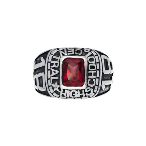 Silver red stone university signet ring 2