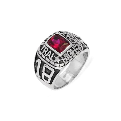 Silver red stone university signet ring 3