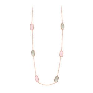 粉色项链和粉红色和灰色水晶小卵石7