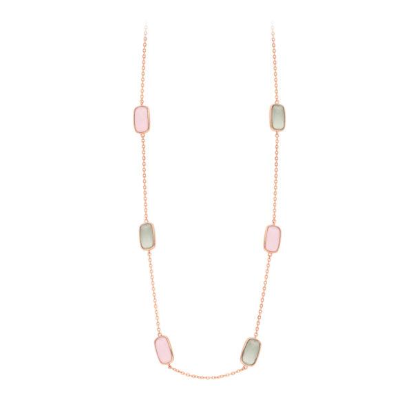 Collier rose petits galets de cristal rose et gris 1