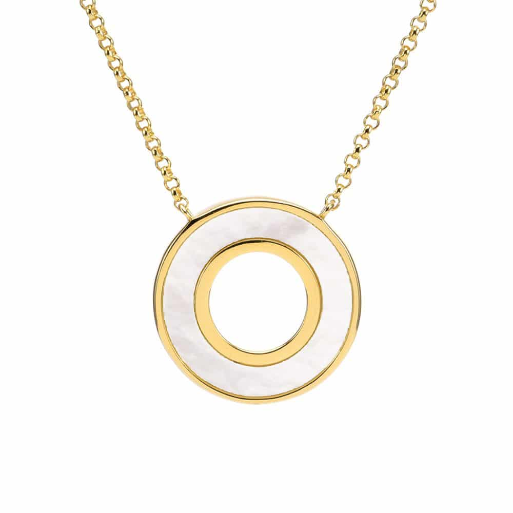 Collier anna en argent doré pierre nacre zirconium blanc 4