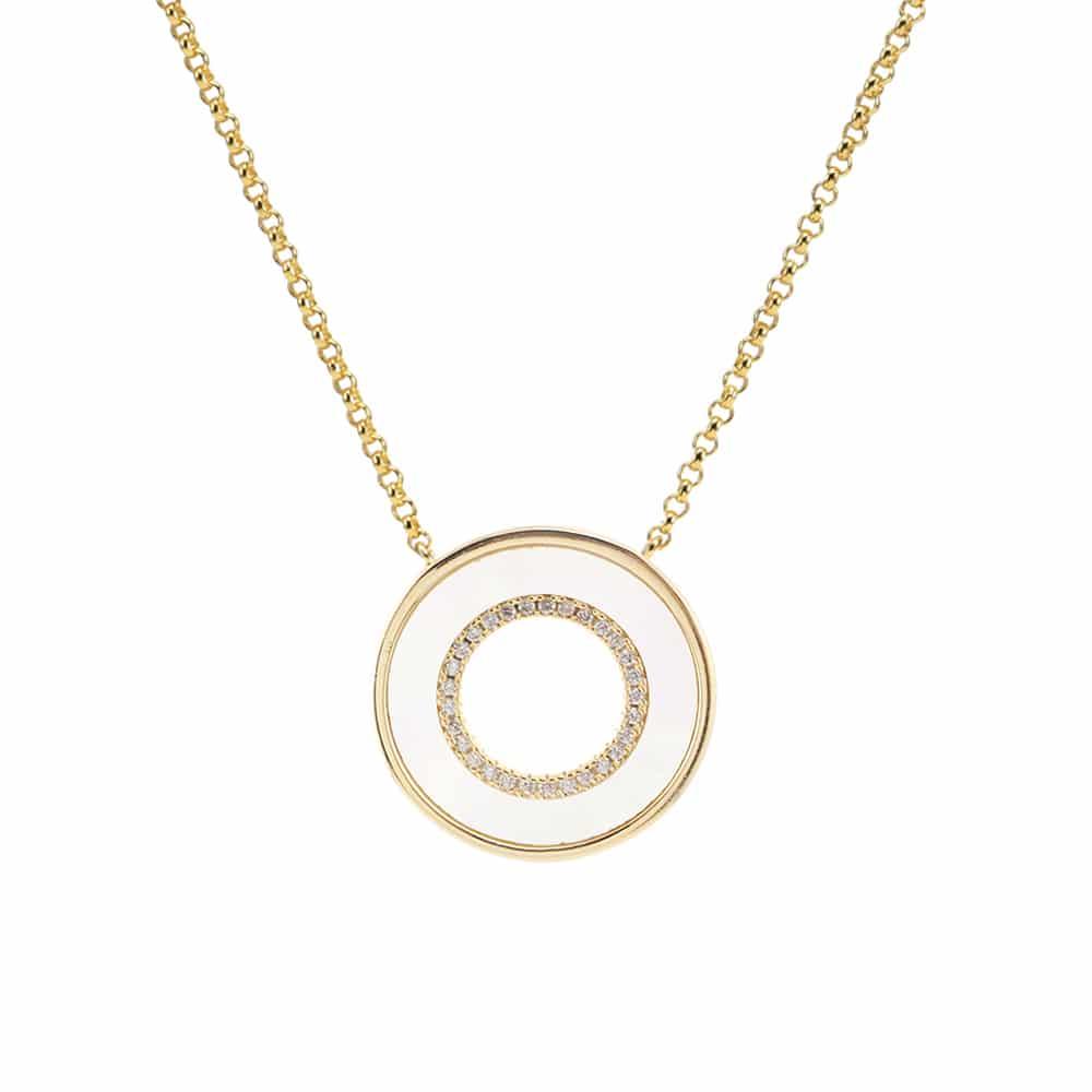 Collier anna en argent doré pierre nacre zirconium blanc 3