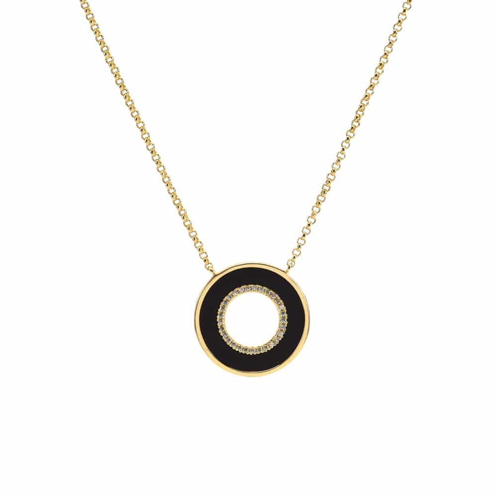 Collier anna en argent doré pierre onyx zc blanc 3