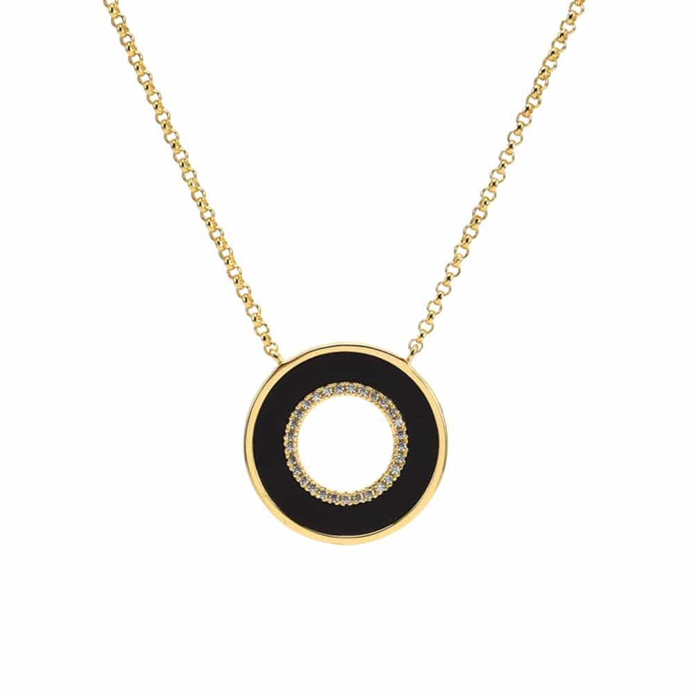 Collier anna en argent doré pierre onyx zirconium blanc 3