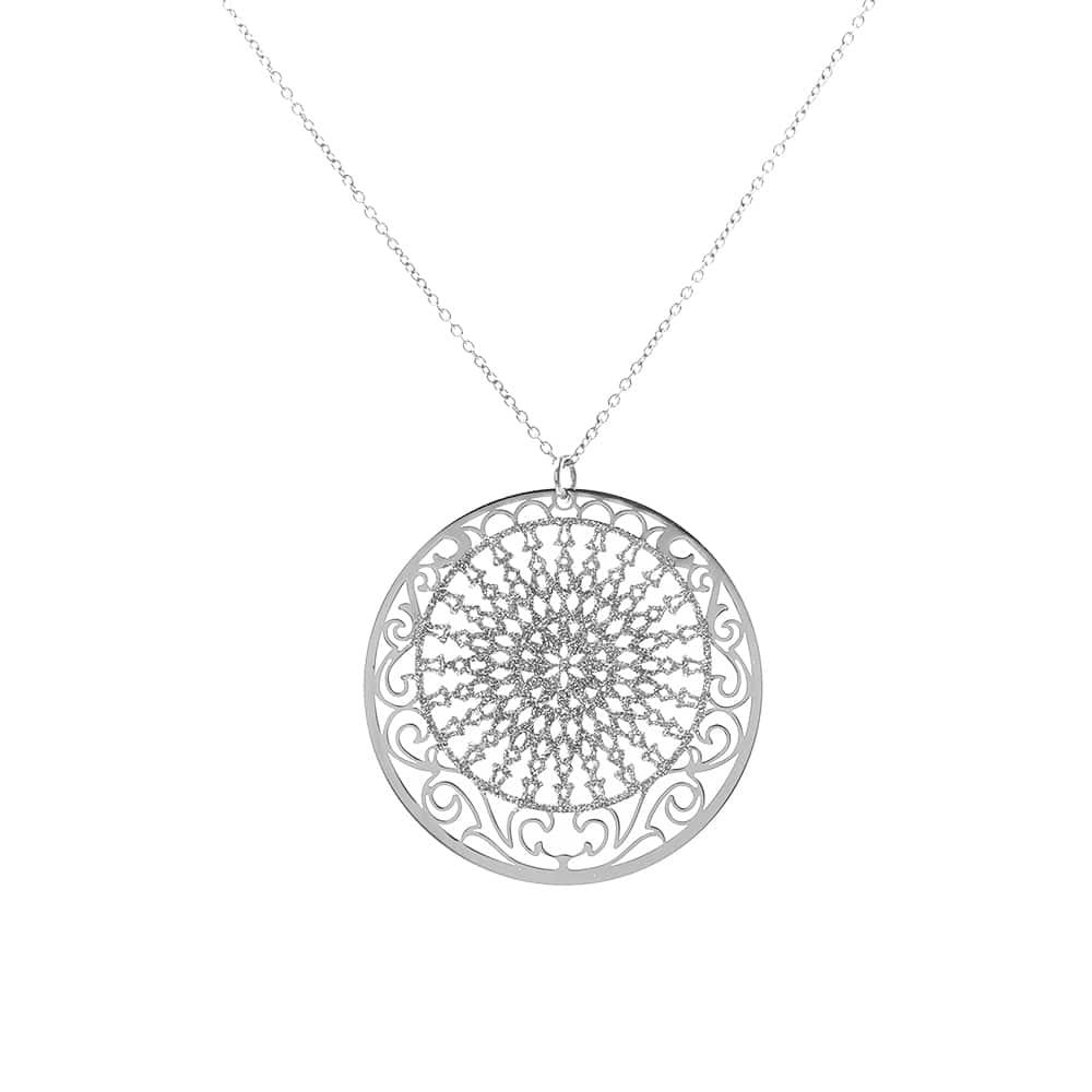 Collier arabesque argent glitter blanc 1