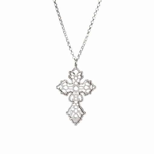 Silver necklace fancy cross rhodium 3