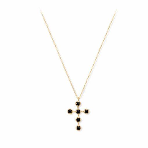 Antike silberne Kreuz schwarze Spinellkette 4