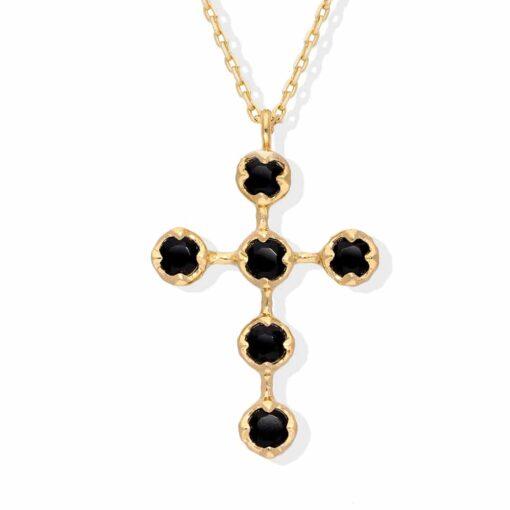 Antike silberne Kreuz schwarze Spinellkette 3