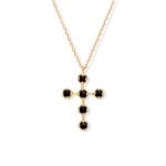 Collier argent doré croix antique spinelle noire 4