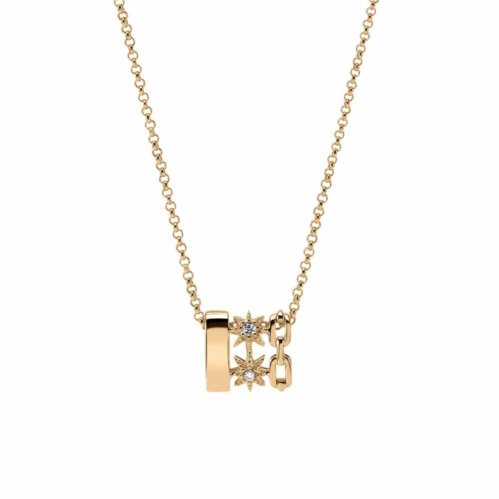 Collier argent doré Étoile sertie de zirconiums blanc 3