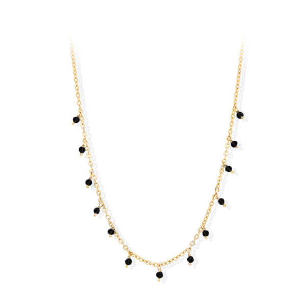 Silver necklace small drop pearls spinel 3