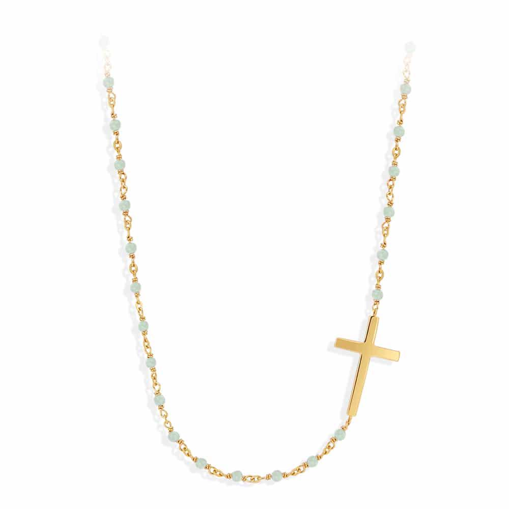 Collier argent doré croix et pierre aventurine 3