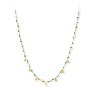 Collier argent doré petites perles pampilles et aventurine 4