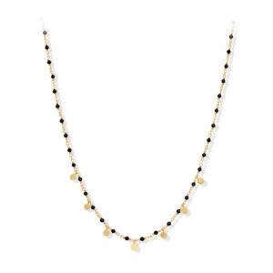 Collier argent doré petites perles pampilles et spinelle noire 6