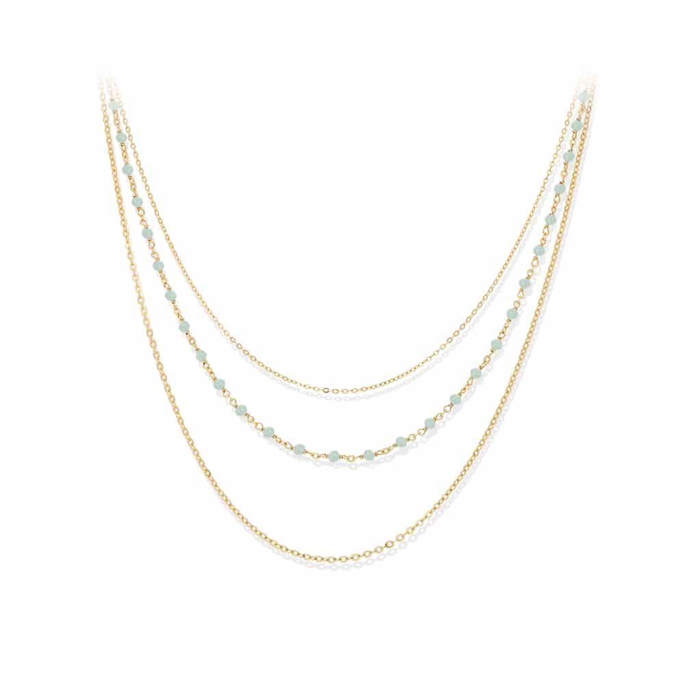 Collier argent doré triple collier petite perles aventurine 3