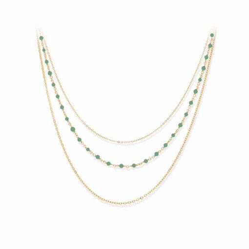 银项链三重三重金珍珠项链3