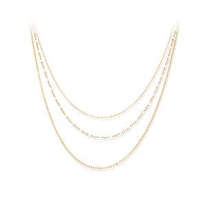 Collier argent doré triple collier petite perles pierre de lune blanche 3