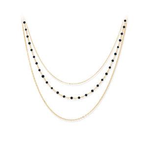 项链银金三重项链小珍珠黑色尖晶石4