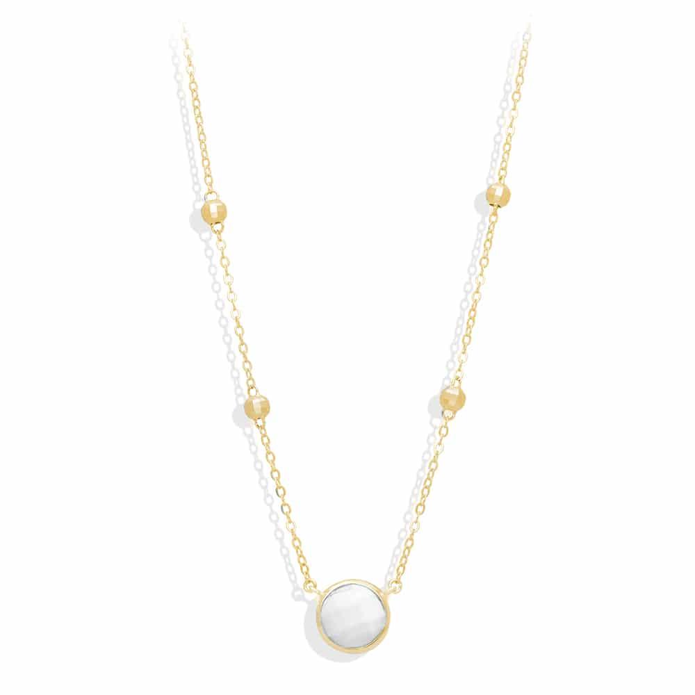 Collier argent doré valentine cristal blanc 4