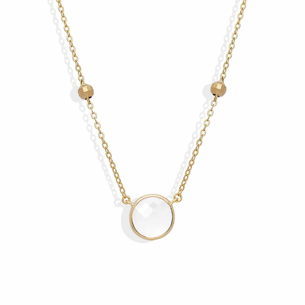 Collier argent doré valentine cristal blanc 3