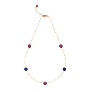 粉色银项链,配以李子和海军水晶4