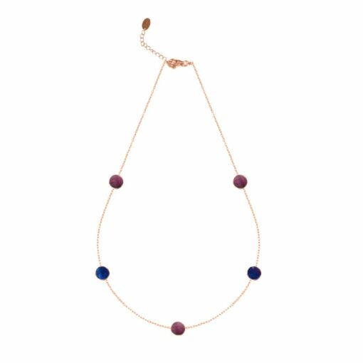 Pink silver necklace with plum and navy crystal drop 3