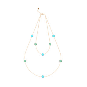 银色双排水晶吊坠项链,配以绿色和蓝色宝石5