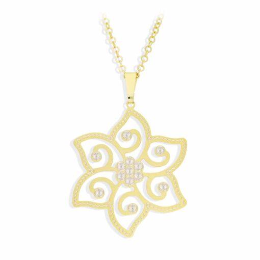 项链银色亚光南星和闪亮的金色3